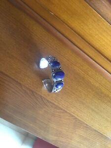 Bracelet ancien en argent et lapis-lazuli
