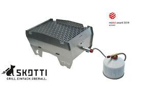Skotti Grill tragbarer und zusammenklappbarer Gasgrill Tischgrill aus Edelstahl