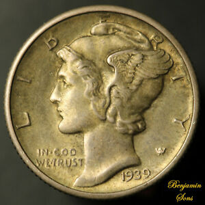 1939-D Mercury Silver Dime, Circulated 110720-08E Free Shipping!