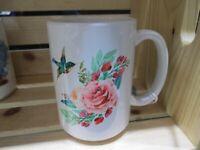 Hummingbird with Rose Transfer on 16 oz Coffee Mug NEW!