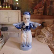 Antique Blue White PORCELAIN MAN WOMAN FIGURINE Vtg Miniature Dollhouse Statue