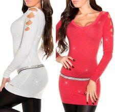 Pullover lungo donna maglione ampia scollatura a V maglia stretch con fiocchi