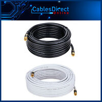 RG6 Quad Cable Black White Coax Coaxial BNC Extension Wire Satellite TV Antenna