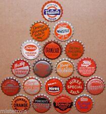 Vintage soda pop bottle caps ORANGE COLORS Lot of 19 different new old stock
