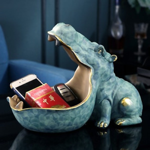 Resin Hippo Statue Hippopotamus Sculpture FigurineKey Candy Container Decoration