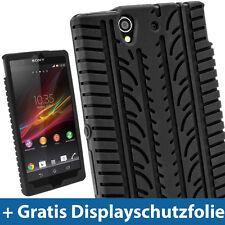 Schwarz Silikon Reifen für Sony Xperia Z Android Smartphone Tasche Hülle Schale