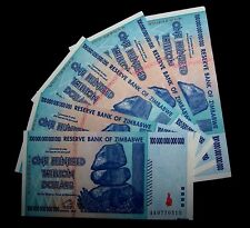 5  x Zimbabwe 100 Trillion Dollar banknotes-aUNC money currency