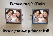 Cuff Links personalised with any photo, image, logo or text Father's day gift!!