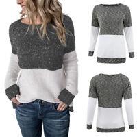 Womens Crew Neck Patchwork Jumper Ladies Winter Pullover Sweater Tops OversiPY