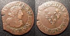 Louis XIII - double tournois Troyes ou Chappes rose à 5 pétales 1638 - CGKL#504