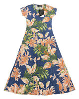 ATTITUDES by Renee Size XS Blue Denim/Floral Short Sleeve Knit Maxi Dress