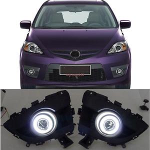 2pcs White LED Bright Light DRL Fog Lamps Assembly Set For 2006-2010 Mazda 5