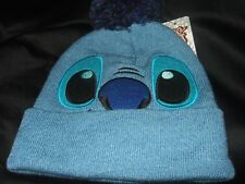 Cute NWT Blue Disney Lilo And Stitch Face Space Alien Pom Winter Beanie Hat Cap