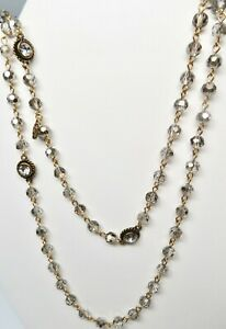 Virgin Saints and Angels Black Diamond 6mm Crystal Wrap Necklace- Gold-NEW !