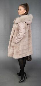 9771 NEW SUPERIOR REX CHINCHILLA FUR COAT FUR JACKET HOOD BEAUTIFUL LOOK SIZE M