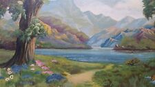 Listed Shirley Myers Idealized Neo-Classical Landscape Lake 1961 Oil Painting
