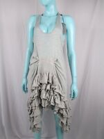 PREEN BY THORNTON BREGAZZI SIZE S UK 8 GREY MARL WATERFALL DRESS AUTHENTIC BNWTS
