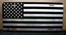 AMERICAN TACTICAL FLAG METAL NOVELTY LICENSE PLATE TAG GRAY TONE BRUSHED LOOK