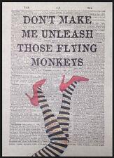 Mago Di Oz Volante Scimmie Citazione Vintage Dizionario Pagina