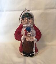 Turkey Hunting Santa Christmas Ornament - Folk Art from handcrafted paper