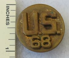 US 68 / 68th REGIMENT - WW2 Vintage US ARMY EM COLLAR BRASS DISK SCREWBACK