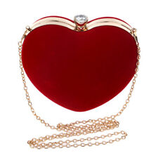 Heart Shaped Diamonds Women Evening Bags Chain Shoulder Purse Day Clutches M2S3