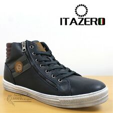 Itazero Milan Men's Hi Top Retro Fashion Sneakers Navy Lace Up Casual Trainers