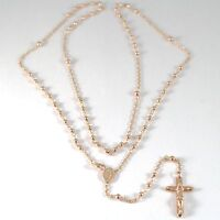 18K ROSE PINK GOLD ROSARY NECKLACE MIRACULOUS MARY MEDAL JESUS CROSS, 22 INCHES