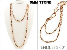 "60"" Long Peach Color Semi Precious Stone Wrap Around Necklace 6mm"