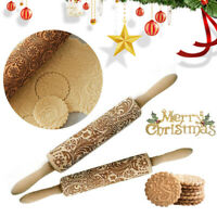 3D Wooden Rolling Pin Embossing Baking Cookies Cake Dough Xmas Roller Christmas