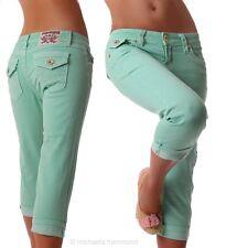 femmes Pantalon capri couture épaisse jeans vert menthe Neuf