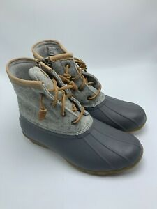 Sperry Womens Saltwater Duck Boots in Wool Dark Grey STS82475 US Size 7.5