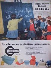 PUBLICITÉ 1959 PLASTIQUE GROSFILLEX - CLASSE D'ÉCOLE - ADVERTISING