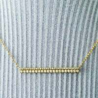 0.30 Ct Round Cut Diamond 2 Line Bar Pendant Necklace 14k Yellow Gold Over
