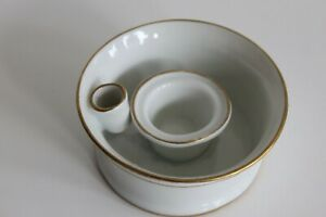 Small Inkwell Porcelain Of Ladies White And Gold Collection Écriture Inkwell
