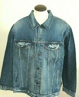 Levis Mens Trucker Distressed Denim Jean Jacket Blue Button Front Size 4XL NWT