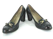 Bandolino Shoes Sz 6M Pump Croc Print Patent Heels Loafers Gold Horsebit 6 M