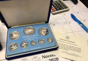 1975 Belize 8-Coin Sterling Silver Proof Set w/ COA Franklin Mint