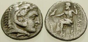 025. Greek Silver Coin. ALEXANDER III, AR Drachm. Herakles / Zeus. VF
