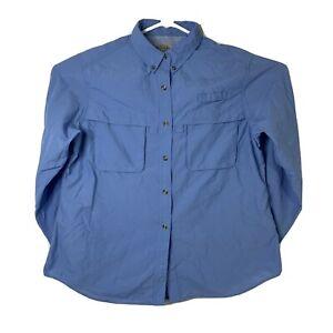 L.L. Bean Womens Size Large Regular Blue Long Sleeve Vented Outdoor Hiking Shirt