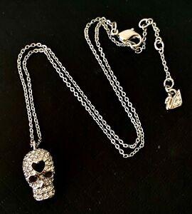 Designer SWAROVSKI Crystal Sparkling Black Enamel Heart SKULL & Chain Necklace