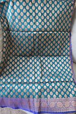 Feroze Blue Dehera/Opara Silk Katan saree with ZARI WORK