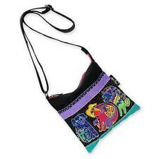 Dogs and Doggies Laurel Burch Small Canvas Purse Tote Cross-Body Bag