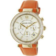 NEW Michael Kors MK2279 Gold Tone Crystal Parker Orange Leather Strap Watch