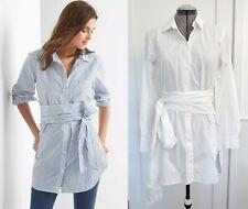 Gap Cotton Shirt Blouse Tunic Tie Wrap Button-down Long Sleeve White Optic S