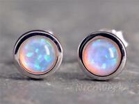 Silber Ohrstecker Opal Rund Weiß Mit stein Edelstein Damen 925 Ohrringe Stecker