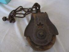 Antique Starline Primitive Cast Iron Barn Pulley Steampunk Wood Wheel * Patina