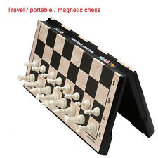 TRAVEL MAGNETIC CHESS & Checkers SET Portable Folding BOARD Travel Game 250mm