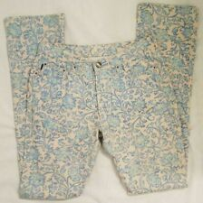 Just Cavalli jeans gorgeous blue gold floral pants women's Size 30 made in Italy