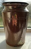 Large Vintage Stoneware Jar, Glossy Brown Glaze, Unmarked.